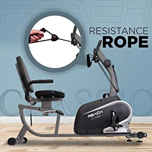 resistance rope reach classic recumbent bike gym exercise cycle for home