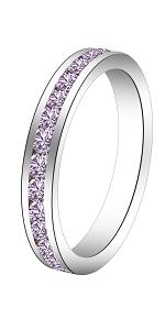 Swarovski eternity ring channel set silver birthstone valentine mother engagement wedding birthday