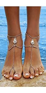 Details about  /1 pair BOHO Clear Rhinestone /& black Barefoot Sandals adjustable fit