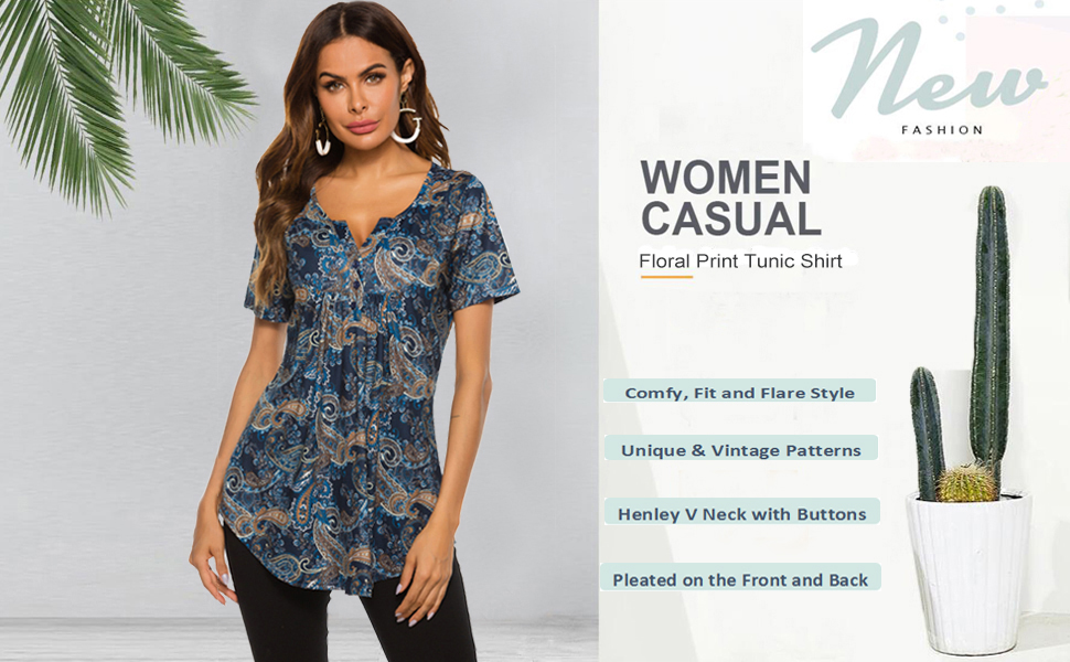 womens floral printed short sleeve top henley v neck shirt pleated casual flare tunic blouse shirts