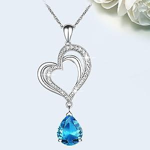 Double Love Heart Pendant Necklace