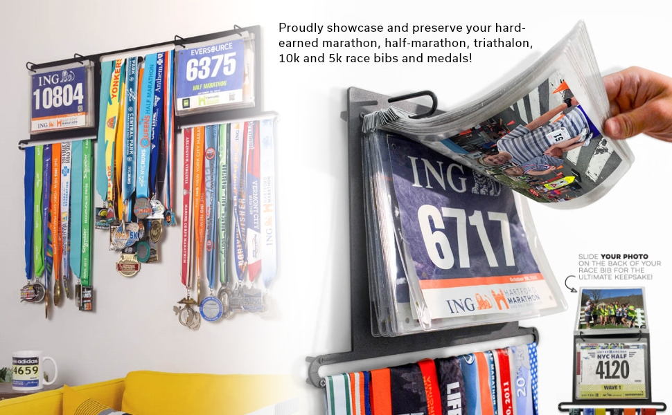 race bib and medal displays