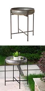 """25""""H Farmhouse Galvanized Side Table Serving End Table Plant Stand"""