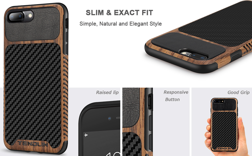 TENDLIN - Coque hybride en cuir pour iPhone 7 Plus / iPhone 8 Plus - Grain de bois avec texture fibre de carbone - Coque fine en cuir - Compatible ...