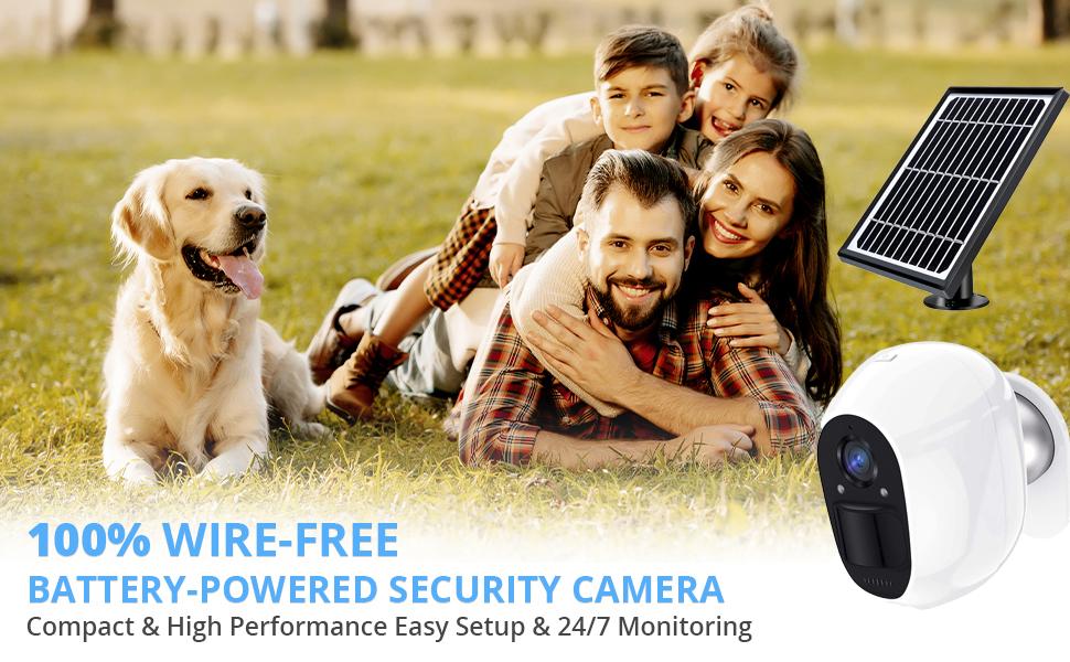 Wireless Solar Camera, for Home Security Camera, Outdoor Indoor Camera, Pet Dog Baby Eldly Camera