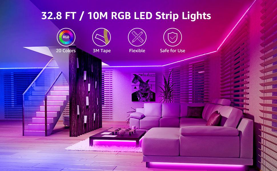 Amazon Com Lepro Led Strip Lights 32 8ft Rgb Led Lights Strip With 44 Keys Ir Remote And 12v Power Supply Flexible Color Changing 5050 300 Leds Light Strips Kit For Bedroom Home Kitchen 2x16 4ft