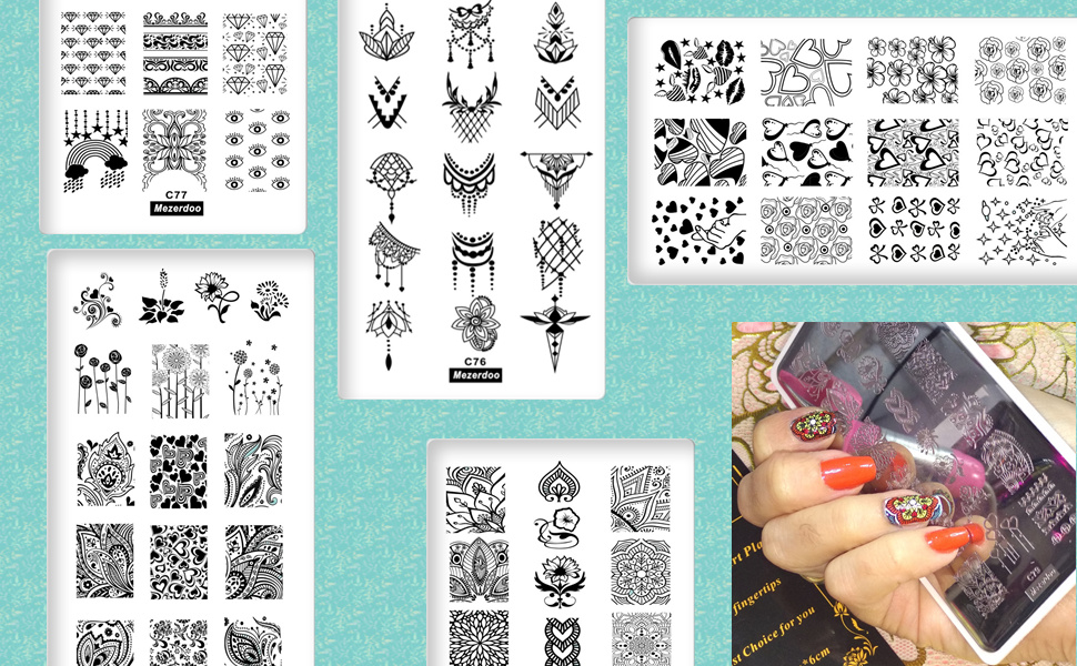 Love Heart Flowers Nail Art Stamp Template Valentine Nail Art Stamping Plate Geometric Image Plates