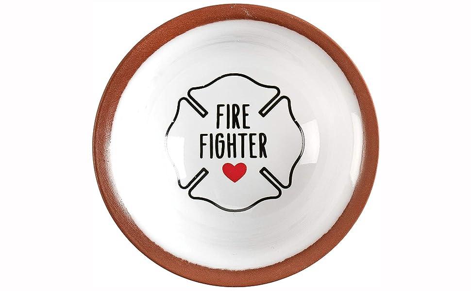 Fire Fighter Emblem Oval Trinket Jewelry Box
