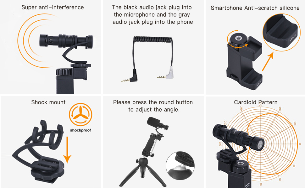 Comica Smartphone Video Rig Kit CVM-VM10-K2 Mini Tripod with Cardioid Directional Shotgun Video Microphone for iPhone 7 8 Plus XS max XR,Samsung S9 S10,LG Android Phones etc. 1//4 Jack