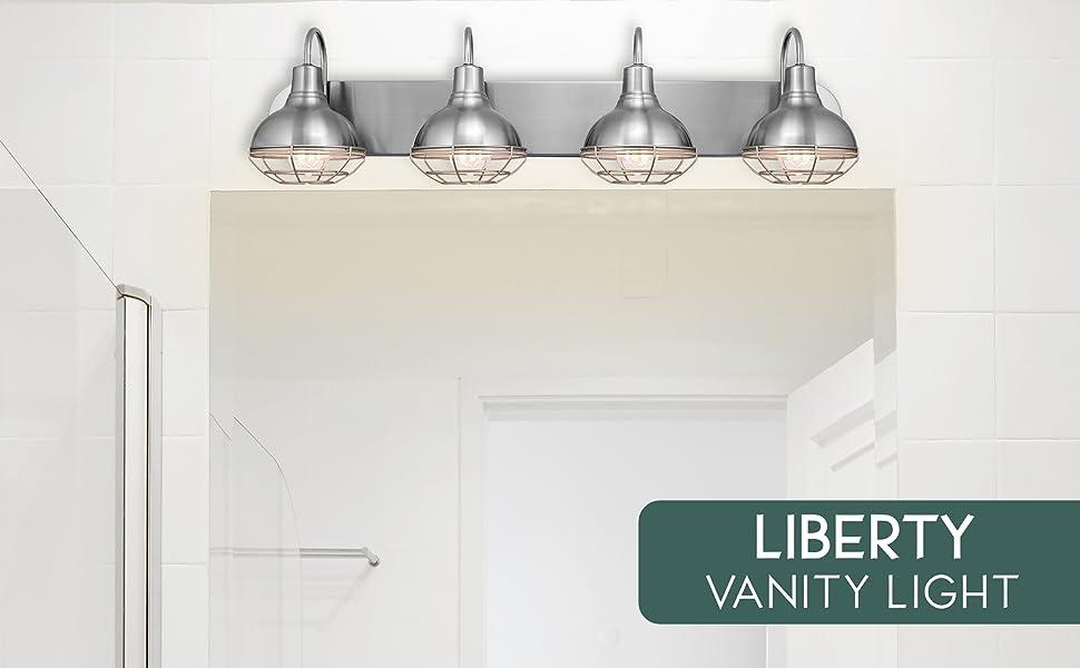 Brushed Nickel Finish Kira Home Liberty 36 4-Light Modern Industrial Vanity//Bathroom Light