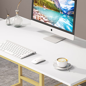 Sturdy Small Laptop Desk, Wood Home Office Desk With L100 x W50 cm for Working, Study, Writing