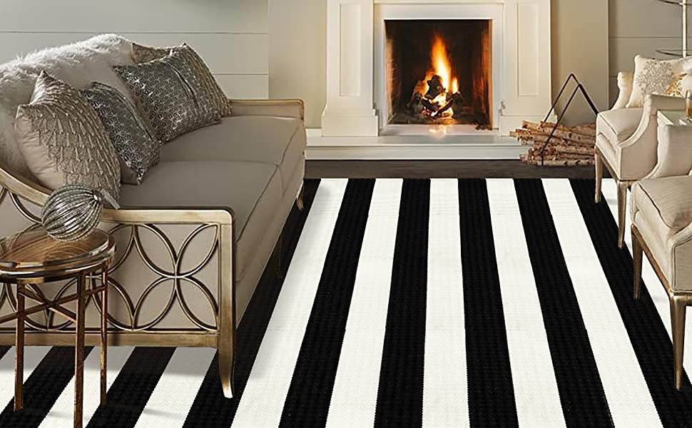 Black and White Strip Area Rug