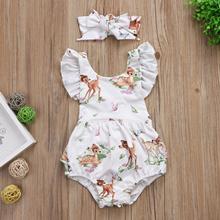 Lanhui Toddler Baby Girl Clothes Deer Romper Headband 2Pcs Set Outfit