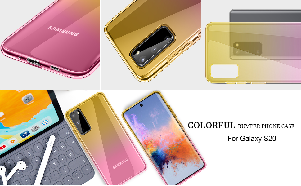 Glitter Shiny Bling E-Began Case for Samsung Galaxy S20 Plus Impact Resist Durable Phone Case -Rose Gold Support Wireless Charging Full-Body Shockproof Protective Rugged Matte Bumper Cover