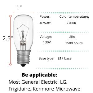 Kenmore Microwave LG 2pcs Microwave Bulb GE WB36X10003-125V 40W ...