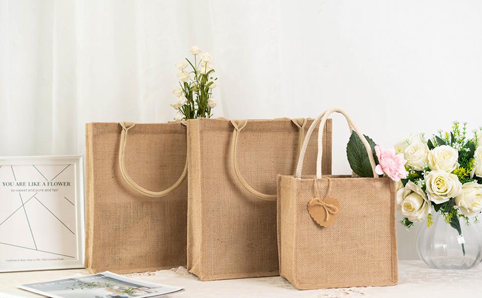Tote Bag Floral Tote Bag Pink Burlap Colorful Burlap Burlap Tote Bag