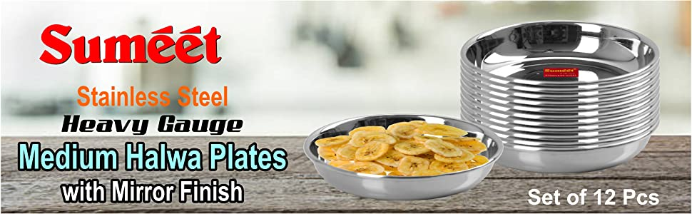 Sumeet Stainless Steel Heavy Gauge Small Halwa Plates with Mirror Finish