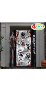 4 Pcs 3D Design Scary Skeleton Door Cover