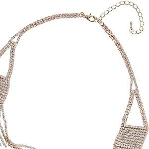 Layered Statement Necklace - Darling Waterfall Simulated Diamond CZ Crystal Multi-Chain Bib