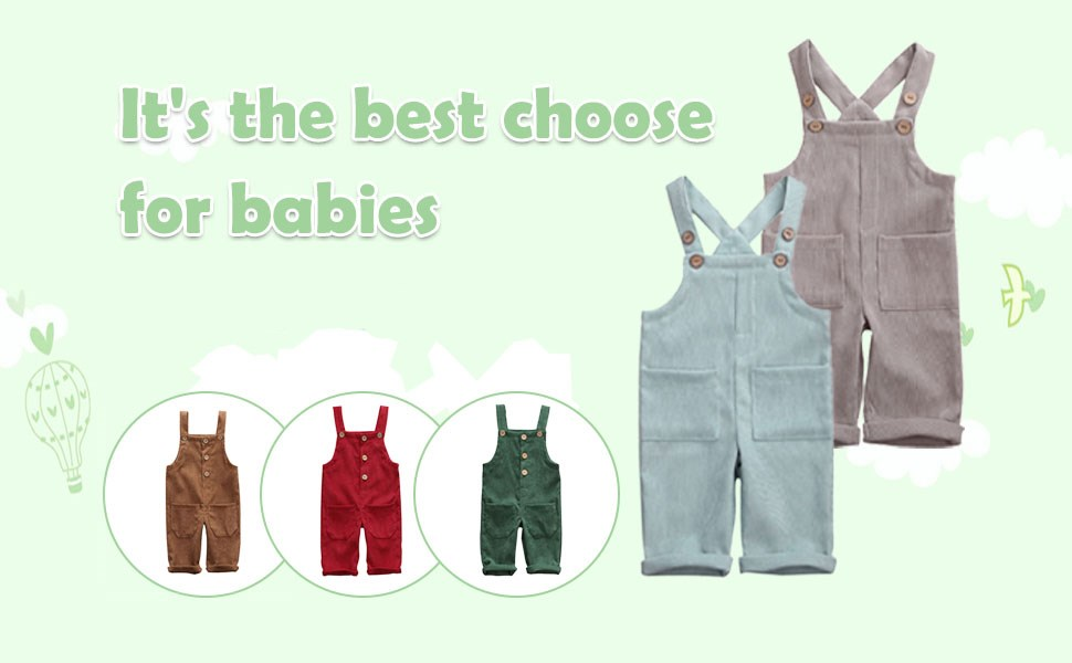 Newborn Baby Girl Corduroy Overalls Boy Velvet Solid Color Adjustable Strap Suspender Pants One-Piece Jumpsuit with 2 Pockets Spring Winter Bib Outfits