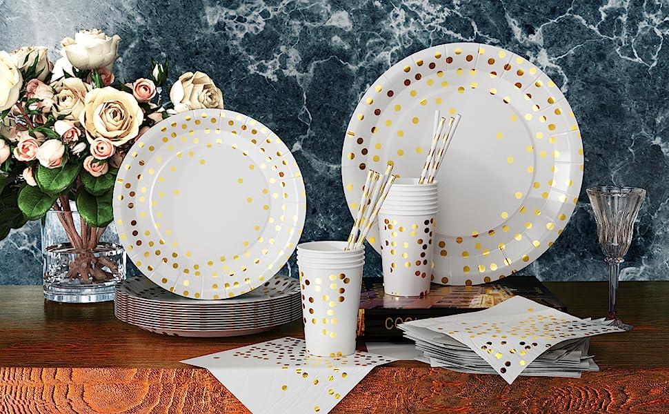 Geburtstage Partygeschirr,20 G/äste Party einweggeschirr Papier Geschirr Set Party Geschirr aus Papier mit tellern,f/ür Partys Jubil/äen Hochzeiten Yellow