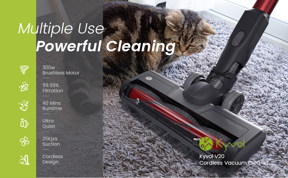 Lightweight 2 in 1 Cordless Stick Vacuum for Deep Clean Pet Hair Carpet Hard Floor 25Kpa Strong Suction Detachable Battery 40 mins Runtime Kyvol V20 Cordless Vacuum Cleaner Ultra-Quiet