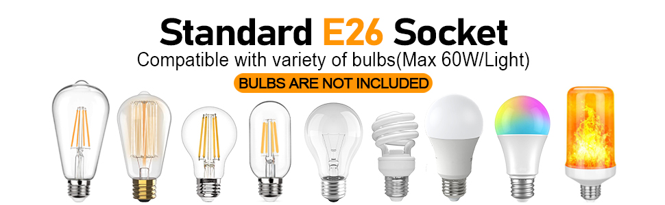 standard e26 base compatible with variety of bulbs bulbs are not included