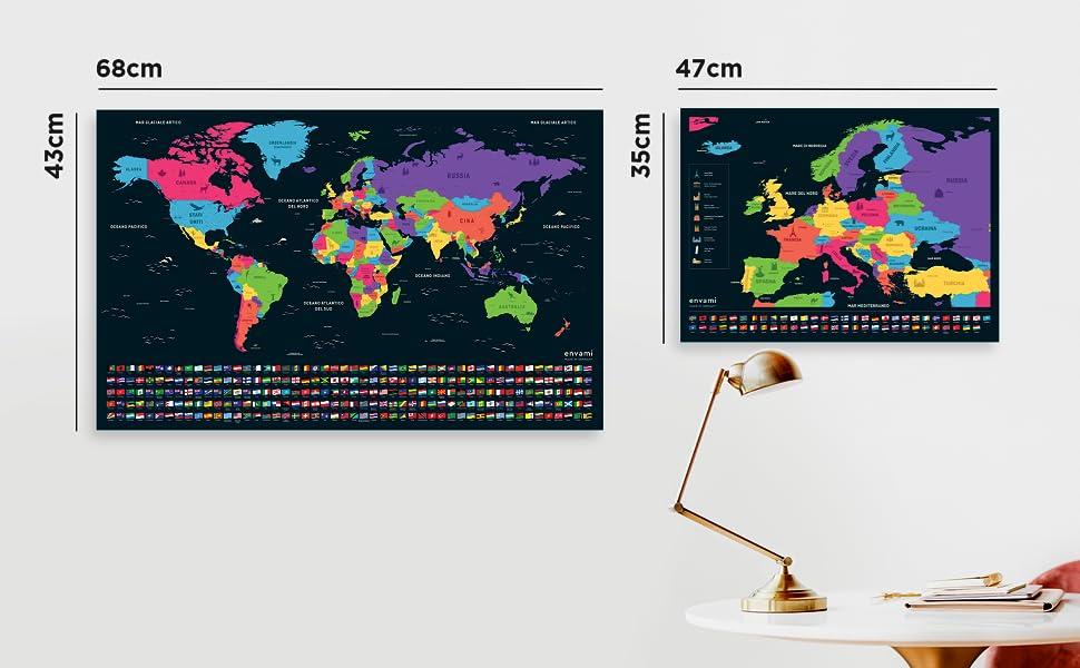 Cartina D Italia 1940.Mappa Del Mondo Da Grattare I Cartina Mondo I Italiano I Piu Mappa Europea I 68 X 43 Cm I Mappamondo Da Grattare I Scratch Off Map I Mappa Da Grattare I