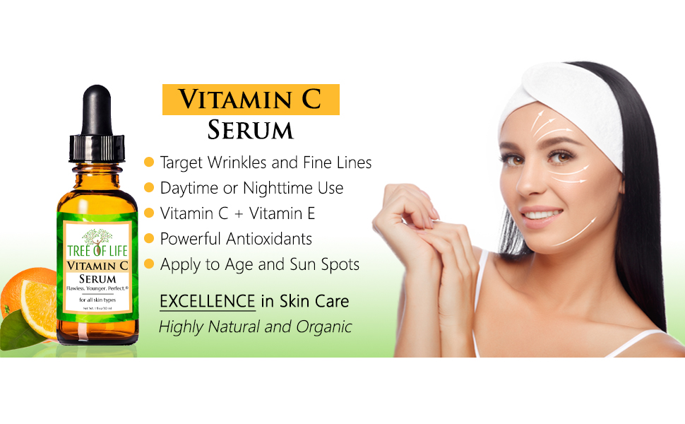 Vitamin C Serum for Face and Skin Anti Aging Wrinkle Moisturizer Cream EBC