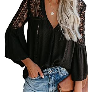 V Neck Tops 3/4 Sleeve amp; Short Sleeve Chiffon Casual Tie Knot Blouses Button Down Shirts