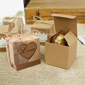 50 un Marrón Rústico Boda Caramelo Regalo Shabby Amor en cajas de corazón corteza
