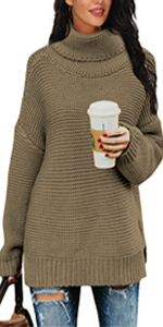 PrinStory Womens Casual Long Sleeve Turtleneck Chunky Knit Pullover Sweater Tops with Side Slit