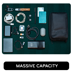 Massive capacity - carries lots of accessories, chargers, batteries, cables