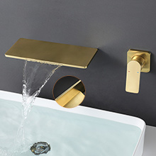 Faucet for bathroom sink brushed gold