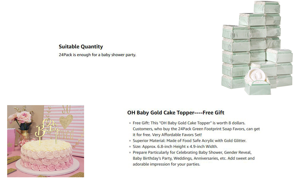 Cutest Handmade Pitter Patter Soap Favors Exquisite Gift Packaging + 7 OH BABY Gold Cake Topper 24 Boxes for Baby Shower Favors and Decorations 1 Pack
