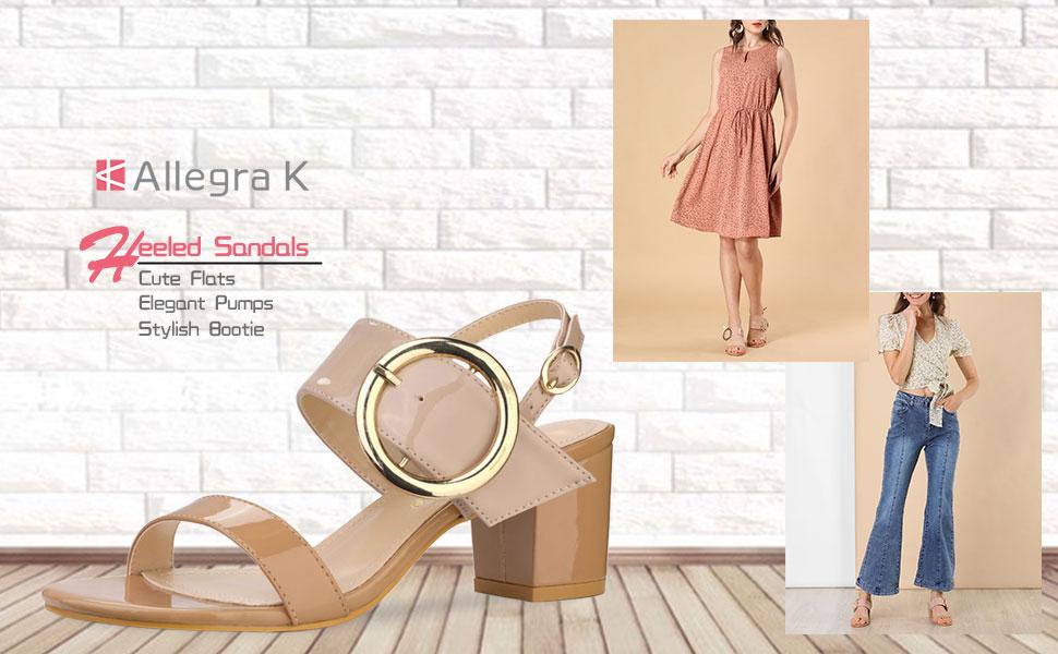 Allegra K Women's Block Heel Slide Heeled Sandals