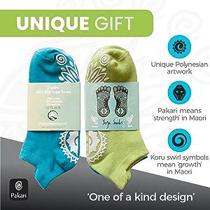 Gift pack of green and blue Pakari yoga socks