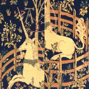 Unicorn in Captivity European Tapestry Wall Hanging