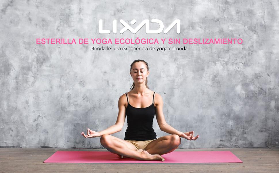 61 cm Lixada Esterilla de Yoga Antideslizante NBR Material Medioambiental con Bolsa Cuerda para Fitness Pilates Gimnasio 186