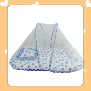 Sunbaby Baby Bedding with Mosquito Net Bed for New Born Baby-0 to12 Months (Blue, Without Bolster)