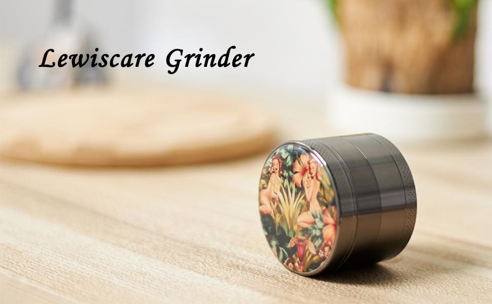 "LEWISCARE LC Jungle Girl Grinder Titanium Premium Spice Grinder 2.2/"" Wide,Black…"