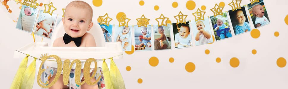 1st birthday 1 year old first one party decoration milestone number monthly month banner photo wall
