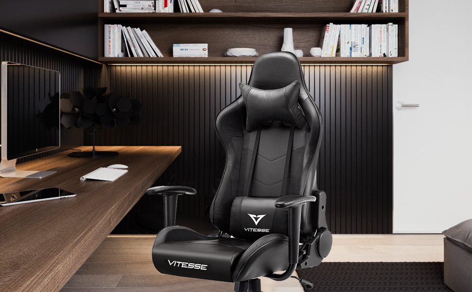 Amazon Com Vitesse Gaming Chair Sillas Gaming Ergonomic Computer Desk Chair Racing Style Comfortable Chair High Back Swivel Executive Leather Chair With Lumbar Support And Headrest Black Kitchen Dining