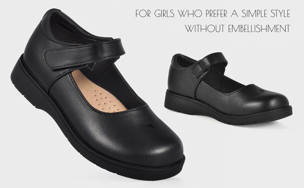 SKOEX Girls Mary Jane Dress Shoes Black