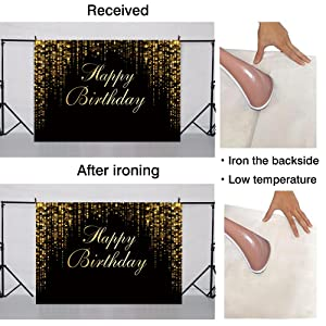 Funnytree 7x5ft Happy Birthday Black and Gold Glitter Bokeh Party Backdrop