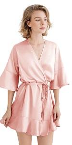 satin robe with ruffle