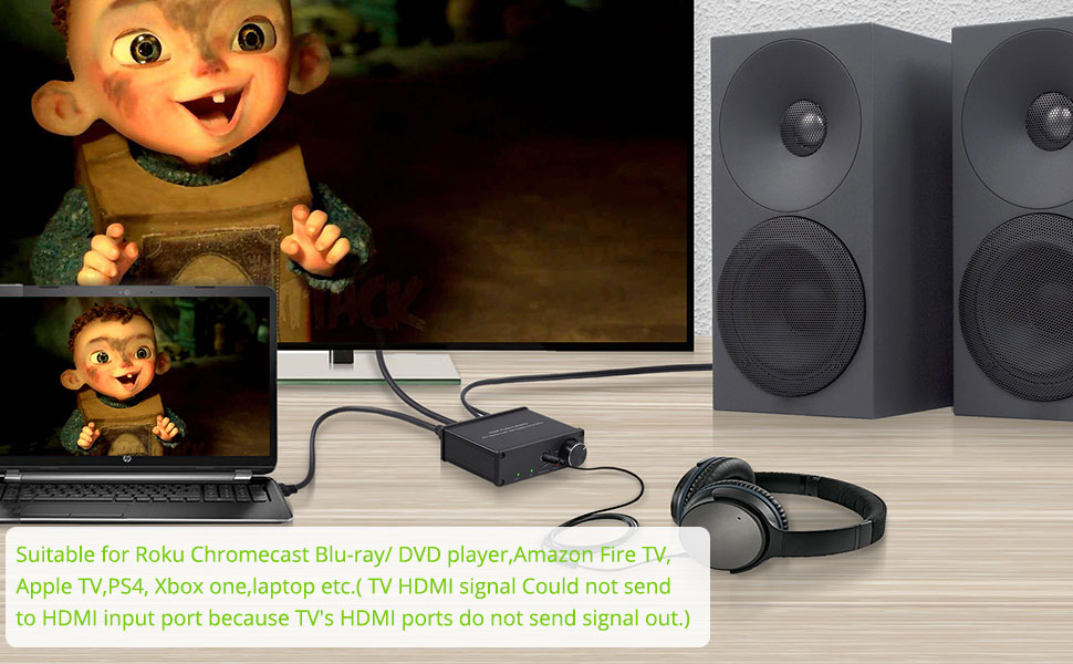 HDMI + Audio(3.5MM Jack + RCA Stereo)Audio Extractor Converter