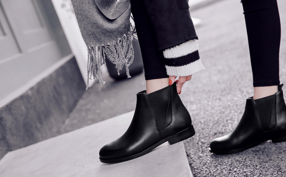 Details about  /Front Zipper Leather Chelsea Boots Womens Retro Casual Comfort Platform Bootie