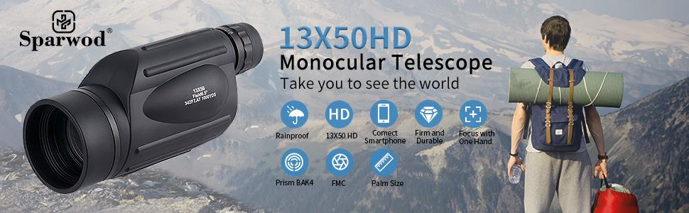 13X50HD Monocular Telescope Rainproof 13X50 HD Focus with One Hand Prism BAK4 FMC Palm Size