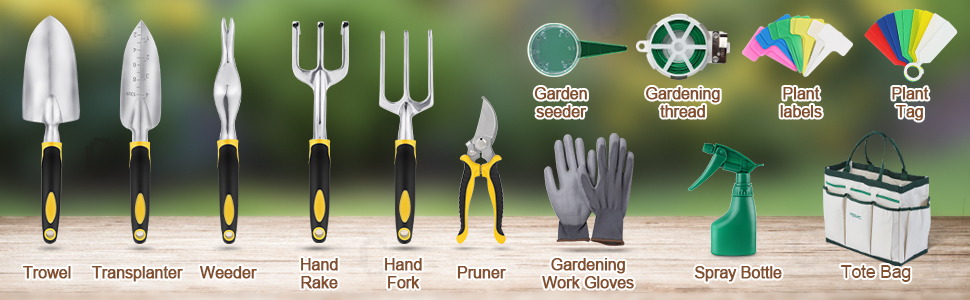 YISSVIC Juego de herramientas de jardín de 12 piezas Heavy Duty Gardenin kit de herramientas de aluminio fundido